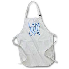3dRose I am the opa. Blue., Full Length Apron, 22 by 30-inch, White, With Pockets