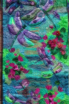 Textile Fibre Art Dragonflies Wall Hanging Fantasy Art Quilted Applique Embroidered. Tafa