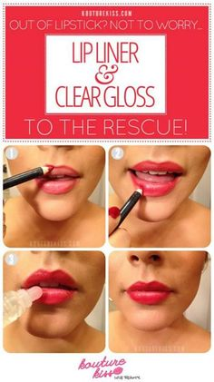 10 Creative And Useful Makeup Tutorials, Out Of Lipstick? Lip Liner + Clear Gloss To The Rescue! (I always do this, and use different glosses for different looks. Makeup Tips, Beauty Makeup, Hair Makeup, Makeup Tutorials, Makeup Ideas, Eye Makeup, Makeup Hairstyle, Photomontage, Beauty Secrets