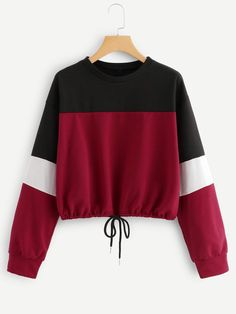 To find out about the Color Block Drawstring Hem Sweatshirt at SHEIN, part of our latest Sweatshirts ready to shop online today! Girls Fashion Clothes, Teen Fashion Outfits, Grunge Outfits, Cute Sweatshirts, Cute Shirts, Hoodies, Grunge Style, Soft Grunge, Cute Comfy Outfits