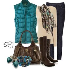 I love the teal puffy vest! Love the skinny dark wash jeans Vest Outfits For Women, Winter Outfits, Casual Outfits, Cute Outfits, Clothes For Women, Winter Clothes, Puffy Vest Outfit, Fashion And Beauty Tips, Autumn Winter Fashion