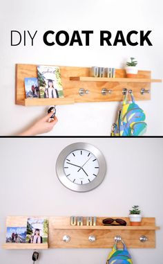 How to make an easy DIY entryway coat rack, magnetic key holder, organizer shelf…. DIY thing to put your stuff on when you walk through the door.