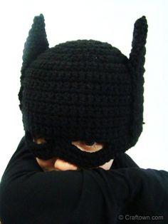 Crochet Batman Hat - Tutorial This+black and yellow tutu+shirt with Batman logo= my halloween costume.