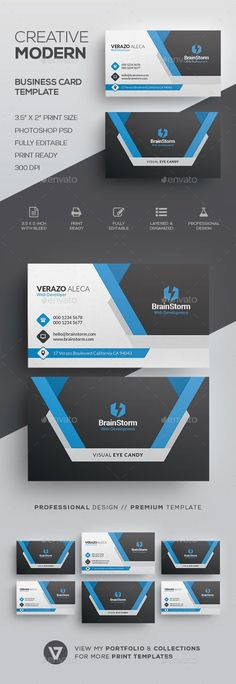 Modern #Business Card Template - Corporate Business Cards Download Here: https://graphicriver.net/item/modern-business-card-template/19874775?ref=suz_562geid