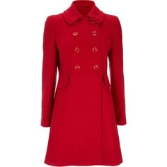 Petite Red Double Breasted Coat (€78) ❤ liked on Polyvore featuring outerwear, coats, red, long coat, red double breasted coat, double breasted long coat, red peplum coat and double-breasted coat