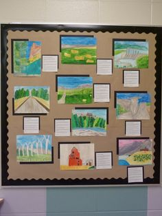 Watercolour Alberta landscapes by grades 3 and 4. Students explore regions and choose a landscape scene of interest to them to try to replicate. We add poetry to compliment the artwork.