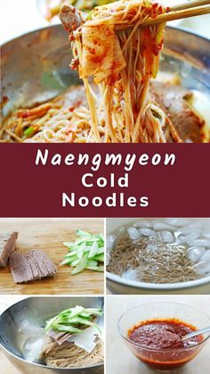 You can make these restaurant favorite cold noodle dishes at home. Learn how to make two types of naengmyeon dishes – spicy and with broth. Vietnamese Recipes, Thai Recipes, Asian Recipes, Drink Recipes, Korean Food, Chinese Food, Japanese Food, Cold Noodles, Potluck Recipes