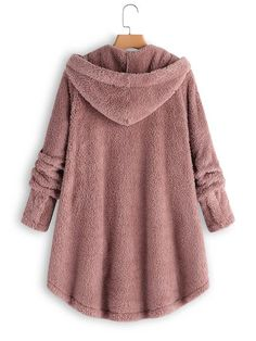Fluffy Tail Tops Hooded Pullover Loose Sweater, Hooded Long Warm Outwear In Winter Teddy Bear Coat, Coats For Women, Clothes For Women, Mode Boho, Loose Sweater, Sherpa Sweater, Types Of Sleeves, Hoods, Fashion Trends