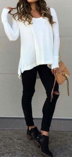 Love These Booties White Oversized Knit Black Ripped Jeans Black Booties