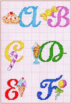 Alfabeto punto croce con cose da mangiare dolci gelati (1).jpg (1117×1600)