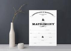 INSTANT DOWNLOAD Marriage Certificate, Wedding Certificate, Wedding Keepsake, Shower Gift
