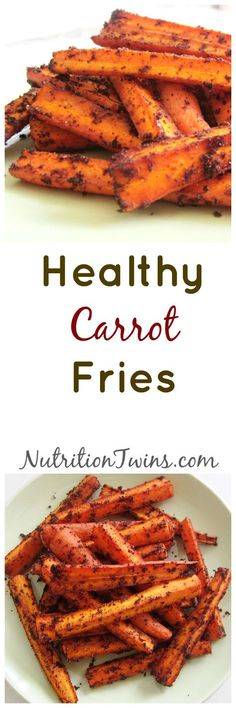 Spicy Carrot Fries   Delicious Way to Get Your Veggies   Only 71 Calories   Healthy, Guilt-free, Satisfying   For MORE RECIPES, fitness & nutrition tips please SIGN UP for our FREE NEWSLETTER www.NutritionTwins.com