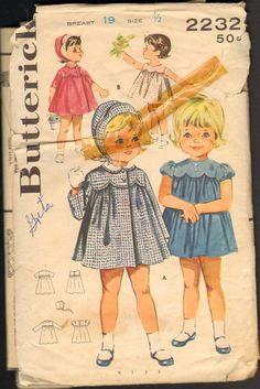 Butterick 2232 Vintage Sewing Pattern Toddler Girls Dress Coat and Bonnet