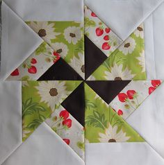 Quilt block by heidielliott - li Fool's Square Quilt Block Pattern ke the dark inner pin wheel. Have done this block before, but like the color choice. Quilt Block Patterns, Pattern Blocks, Quilt Blocks, Quilting Tutorials, Quilting Projects, Quilting Designs, Quilting Ideas, Paper Piecing, Pinwheel Quilt