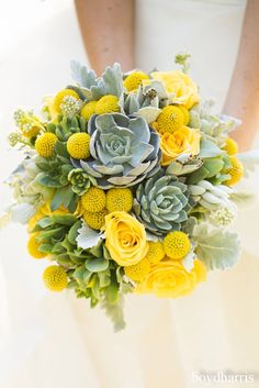Brautstrauß Wedding decor ideas in yellow: bridal bouquet with Craspedien Make Valentine's With Your Yellow Wedding Flowers, Wedding Table Flowers, Yellow Flowers, Wedding Bouquets, Wedding Decorations, Exotic Flowers, Wedding Themes, Wedding Ideas, Blue Yellow Weddings