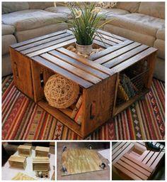 DIY coffee table using repurposed crates