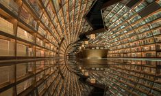 Chinese Library With Black Mirror Glass Reflecting Books