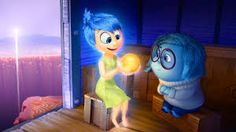 """Joy and Sadness (voiced by Amy Poehler and Phyllis Smith) in the new Pixar movie """"Inside Out"""" How many ideas can the folks at Pixar h. Disney Inside Out, Film Inside Out, Inside Out Review, Joy Inside Out, Film Pixar, Pixar Movies, New Movies, Disney Movies, Disney Stuff"""