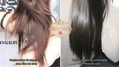 cabelo antes e depois umectação com óleo de Coco
