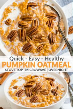 How to make the most delicious, easy and healthy pumpkin oatmeal on stove, microwave or overnight! Great for leftover pumpkin too! Pumpkin Oatmeal, Pumpkin Overnight Oats, Pumpkin Puree Recipes, Pureed Food Recipes, Healthy Pumpkin Recipes, Easy Delicious Recipes, Yummy Food, Easy Dinner Recipes, Tasty