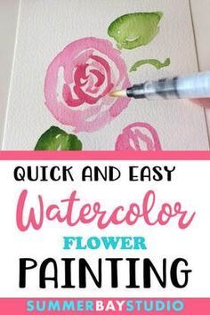 Quick and easy watercolor painting - paint a simple watercolour flower with artist, Wendy Dewar Hughes. Simple Watercolor Flowers, Watercolor Flowers Tutorial, Step By Step Watercolor, Easy Watercolor, Watercolour Tutorials, Watercolor Techniques, Floral Watercolor, Beginning Watercolor Tutorials, Drawing Tutorials