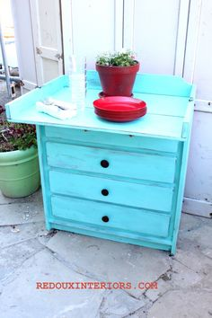 Changing table repurposed into outdoor dining buffet