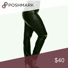 [LAST ONE LEFT: SIZE 3X] 2X HP High-Waist Leggings Faux leather cutout leggings. 95% poly 5% spandex. The ankles are slightly loose and not as fitted. These are a combination of leggings/pants and are sturdy since it is faux leather. Limited available.   XL = 14/16  Sold Out XXL = 18/20  Sold Out XXXL = 22/24 1 left Boutique Pants Leggings