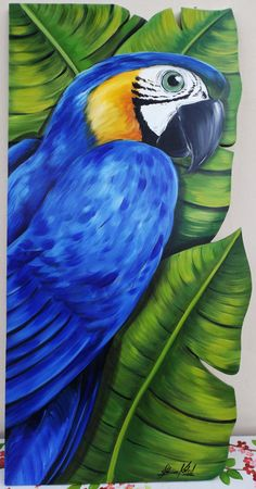 Passaro pinturas en 2019 Peacock art Colorful drawings y Bird art Parrot Drawing, Parrot Painting, Oil Pastel Drawings, Bird Drawings, Drawing Birds, Colorful Drawings, Fabric Painting, Painting & Drawing, Art Rupestre