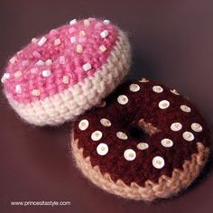 Crochet food, doughnuts.  Donuts.