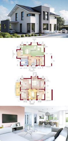 Moderne Architektur mit Satteldach - Haus Concept-M 167 Bien Zenker - Einfamilienhaus bauen Grundriss modern mit offener Küche Galerie Büro und Carport - HausbauDirekt.de