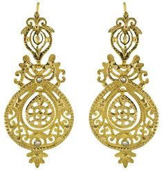 Eleuterio Jewels Hand Engraved Earrings in Yellow Gold and Rose Cut Diamonds. Gold Earrings, Gold Jewelry, Jewelry Box, Jewelery, Accessorize Hats, Jewel Hands, Hand Engraving, Engraving Ideas, Fantasy Jewelry