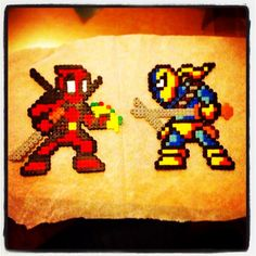 Deadpool vs Deathstroke perler beads by seb_eotf