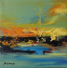 abstract landscape oil painting, blue, yellow and orange by Beata Belanszky Demko