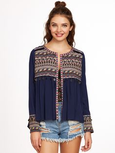 Online shopping for Navy Embroidered Yoke And Cuff Coin Fringe Trim Blouse from a great selection of women's fashion clothing & more at MakeMeChic.COM.
