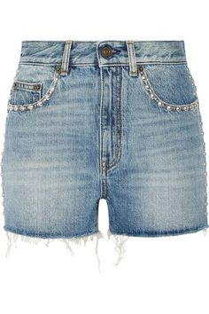 Saint Laurent - Studded High-rise Denim Shorts - SALE20 at Checkout for an extra 20% off