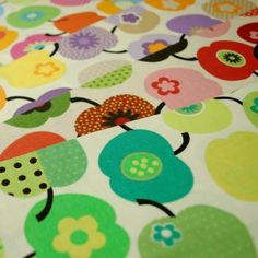Bright Colour Apple s And Daisies 100% Cotton Fabric