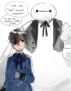 Big hero six and black butler crossover OH MY WORD I SNORTED SO LOUDLY