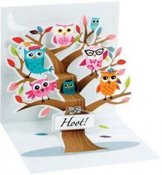 Hoot Owl Pop-Up Card Pinned by www.myowlbarn.com
