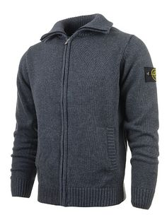 95813db7d8 Stone Island Men s Zip Cardigans Sweaters Badge Gray up to 70% off Stone  Island