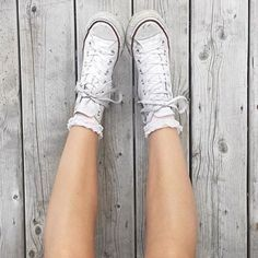 Image result for converse white high tops with lace socks