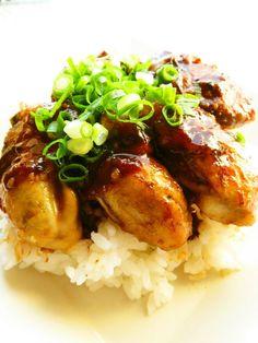 簡単 牡蠣のガーリックバター醤油丼 Japanese Food, Japanese Recipes, Risotto, Rice, Meat, Chicken, Cooking, Ethnic Recipes, Essen