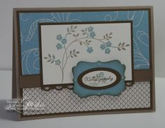 Stamps: Thoughts & Prayers, Teeny Tiny Wishes  Ink: Crumb Cake, Baja Blue & Soft Suede  Card stock: Elegant Soiree DSP, Crumb Cake, Baja Blue, Very Vanilla & Soft Suede  Accessories: Scalloped Trim Border, Decorative Label, Small Oval & Large Oval Punches, Soft Suede Polka Dot Grosgrain (retired)