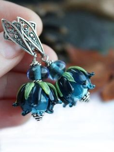 ~ Made To Order ~ Glass lampwork earrings with beautiful dark blue flowers - the color of the evening sky. All components of earrings with