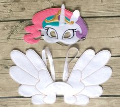 Princess Pony Felt Mask and Wing Cosplay Set by lilliannamarie