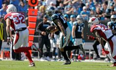 Cardinals vs. Panthers:    October 30, 2016  -  30-20, Panthers  -     Carolina Panthers' Kelvin Benjamin (13) runs after a catch as Arizona Cardinals' Tyrann Mathieu (32) and Patrick Peterson (21) defend in the first quarter of an NFL football game in Charlotte, N.C., Sunday, Oct. 30, 2016.