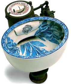 """an early lavatory """"In the 19th century, the cost of using a public convenience, such as this, was one penny  -  hence the phrase 'to spend a penny'. This decorative 1870s water closet was manufactured by Mr Jennings  -  a plumber who made his name installing such WCs at the Great Exhibition in Hyde Park in 1851."""""""