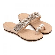22ac113a36ce Stylish Flat and Rhinestones Design Slippers For Women