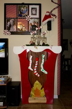 A Whoville fireplace - waiting for a Grinchy Santa.