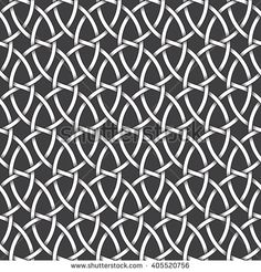 #Abstract #repeatable #pattern #background of white twisted bands with black strokes. Swatch of intertwined wavy bands. Seamless pattern in vintage style.