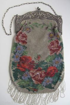 """Antique Beaded Purse Large Size Over 12"""" inches Victorian Era Roses Blue Flower 